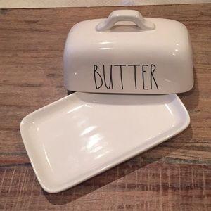 """Rae Dunn """"Butter"""" ceramic butter dish."""